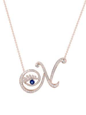 Eye 18K Rose Gold, Sapphire & Diamond Natural Pendant Necklace