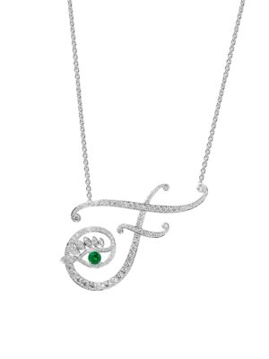 Eye 18K White Gold, Emerald & Diamond Fearless Pendant Necklace