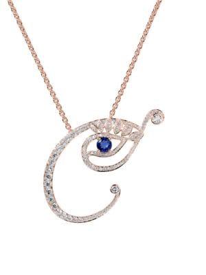 Eye 18K Rose Gold, Diamond & Sapphire Creative Pendant Necklace