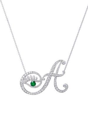 Eye 18K White Gold, Emerald & Diamond Authentic Pendant Necklace