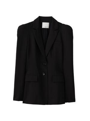 Tropical Wool Puff-Sleeve Blazer