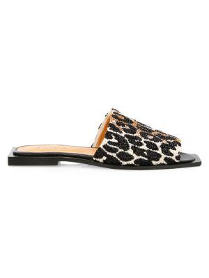 Embellished Leopard-Print Mules