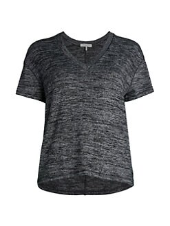 랙앤본 브이넥 티셔츠 Rag & Bone V-Neck Knit T-Shirt,Black Heather