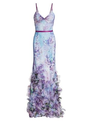 Floral Tulle Mermaid Gown