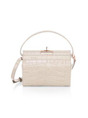 Milky Croc-Embossed Leather Crossbody Bag