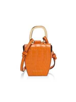 Pablo Croc-Embossed Leather Top Handle Bag