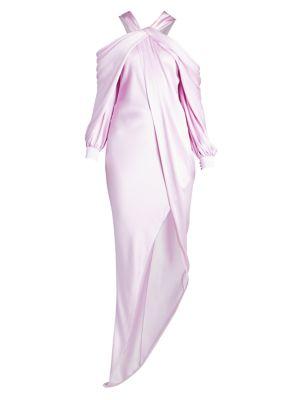 Cold-Shoulder Asymmetric Silk Gown