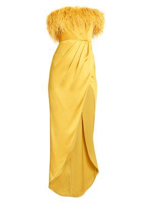 Ostrich Feather Silk Slit Gown