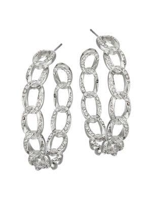 Silvertone Crystal Link Hoop Earrings