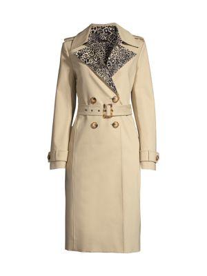 Watson Leopard-Print Trench Coat