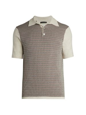 COLLECTION Short-Sleeve Retro Knit Polo Sweater