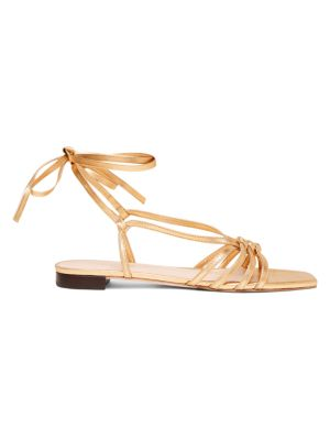 Lorelai Flat Ankle-Wrap Metallic Leather Sandals