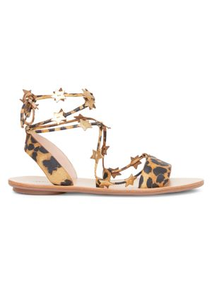 Starla Ankle-Wrap Leopard-Print Leather Sandals