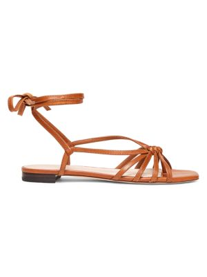 Lorelai Flat Ankle-Wrap Leather Sandals