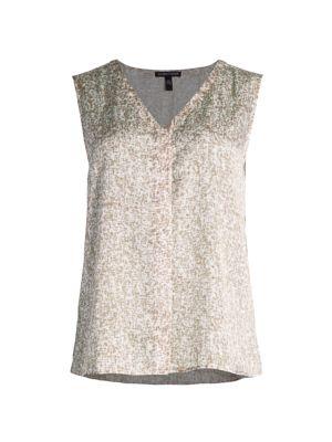 Print Silk & Cotton V-Neck Sleeveless Top