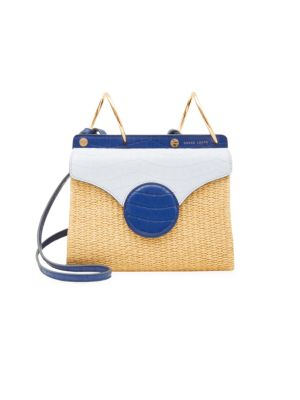 Mini Phoebe Folio Leather & Raffia Bag