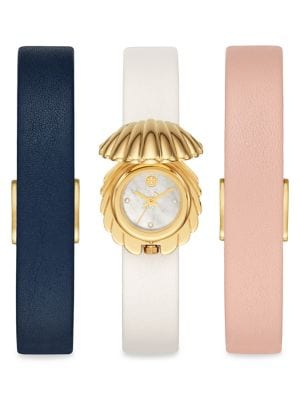 The Shell Goldtone Stainless Steel & Leather Strap Watch Gift Set