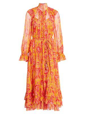 Brightside Frilled Ikat Print Silk Dress