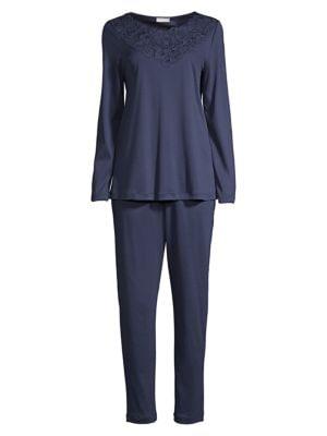 Najuma 2-Piece Lace-Trimmed Mercerized Cotton Pajama Set