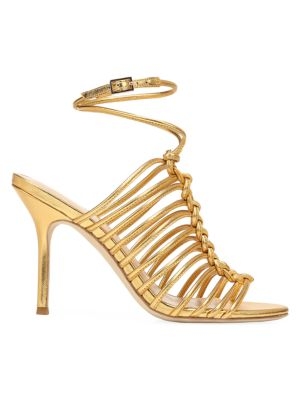 Paula Knotted Metallic Leather Sandals