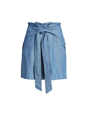 Belted Chambray Paperbag Shorts