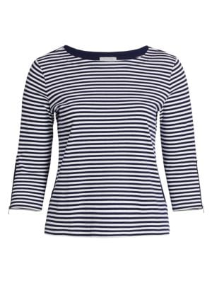 Striped Three-Quarter Sleeve Top