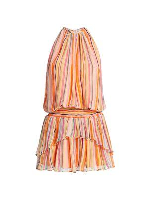 Tobie Striped Blouson Silk Dress