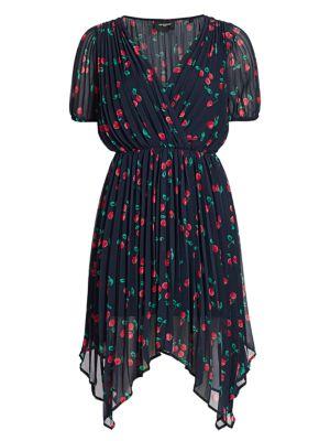 V-Neck Cherry Print Asymmetric Dress