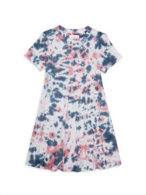 Little Girl's & Girl's Marble-Print Cotton T-Shirt Dress