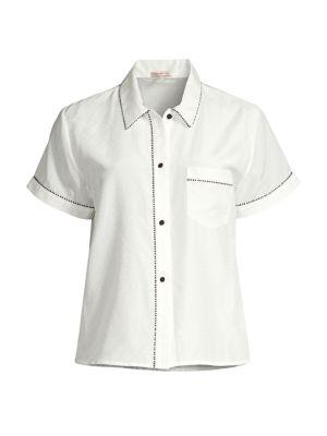 Tami Piping Trim Silk Pajama Top