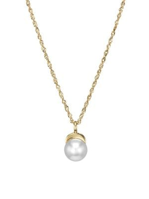 14K Yellow Gold & 6MM Pearl Moon Pendant Necklace