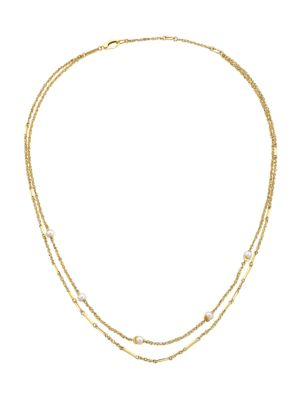 14K Yellow Gold & 4MM Pearl Station Layered Necklace