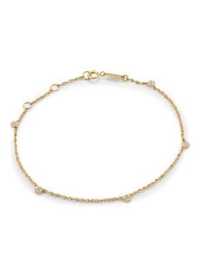 14K Yellow Gold & Diamond Pavé Disc Station Bracelet