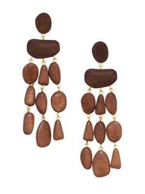 Tallulah Mahogany Wood Drop Earrings