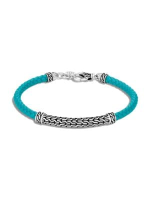 Chain Classic Sterling Silver & Leather Bracelet