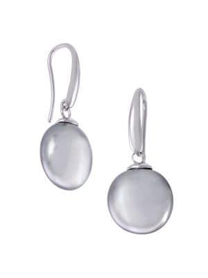 Sterling Silver & Faux Pearl Coin Drop Earrings