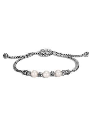 Chain Sterling Silver & 6-6.5MM Freshwater Pearl Pull-Through Bracelet