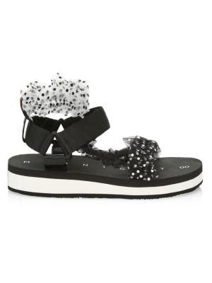 Ruched Polka Dot Sport Sandals