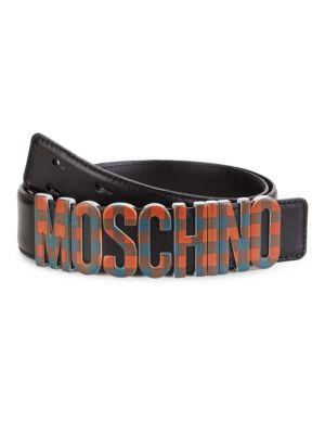 Plaid Logo Leather Belt
