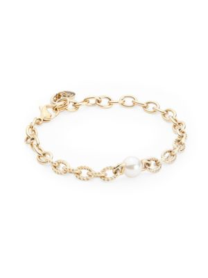 Modern Metal 8MM White Round Man-Made Pearl Chain-Link Bracelet