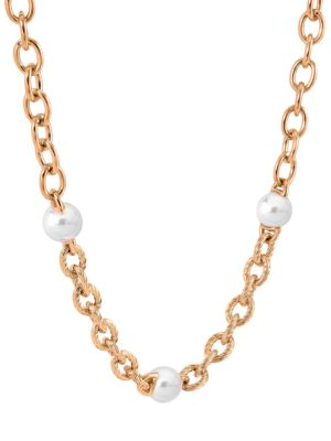 Modern Metal 8MM White Round Man-Made Pearl Chain-Link Necklace