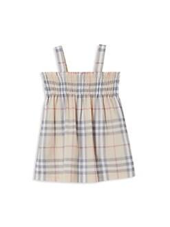 버버리 여아용 체크 원피스 Burberry Baby Girls Joan 3-Piece Checker Dress, Bloomers & Slippers Set,Pale Stone