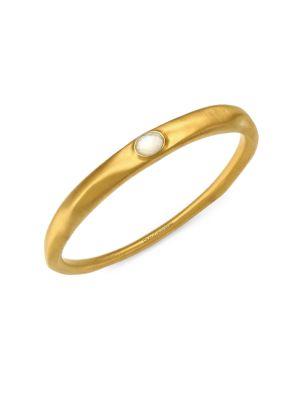 22K Goldplated & Mother-Of-Pearl Doublet Bangle Bracelet