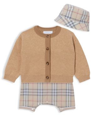 Baby's 3-Piece Chet Cardigan, Bodysuit & Hat Set