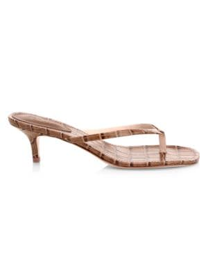 Ivone Croc-Embossed Leather Thong Sandals