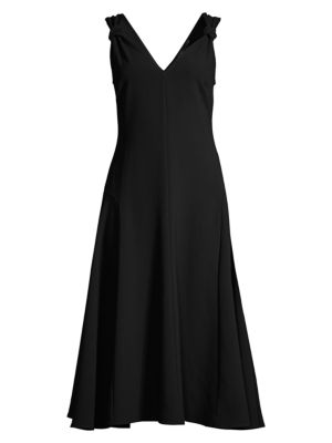 Solid Knot-Strap Crepe Dress