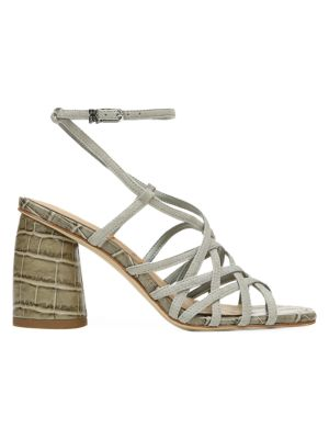 Daffodil Ankle-Wrap Croc-Embossed Leather Sandals
