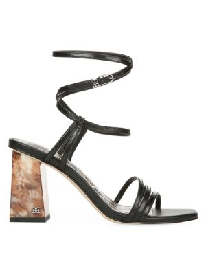 Doriss Ankle-Wrap Leather Sandals