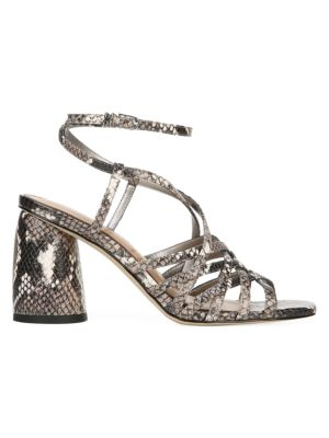 Daffodil Ankle-Wrap Snakeskin-Embossed Leather Sandals