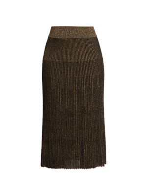 Pleated Lurex Midi Skirt